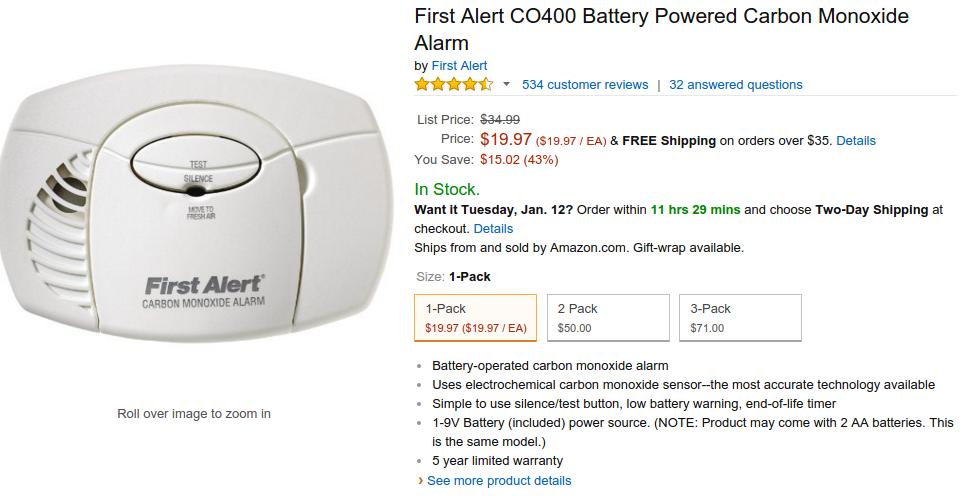 First Alert Portable CO Alarm